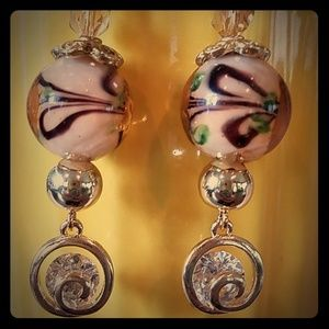Handcrafted Swarovski crystal gold swirl charms Ea